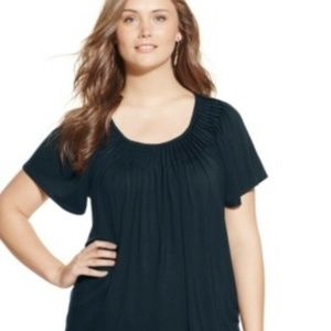 Style & Co Plus Size Short Sleeve Pleated Top 2X